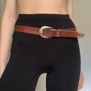 Vintage Brown Leather Western Belt